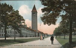 Fort Sheridan, the Barracks and Water Tower Postcard