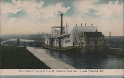 First Freight Barge in I & M Canal at Lock No. 11