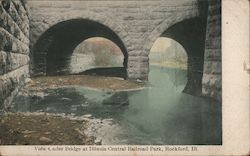 View Under Bridge at Illinois Central Railroad Park Rockford, IL Postcard