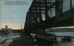 Government Bridge Between Davenport, Ia and Rock Island Il. Postcard