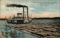 Steamer Kit Carson towing largest Lumber Raft ever taken down the Mississippi River