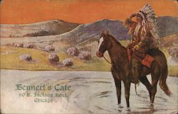 Bennert's Cafe, Jackson Boulevard - Indian Chief on Horse