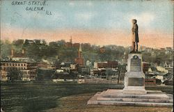 Grant Statue and City Postcard
