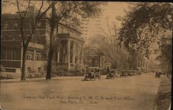 View on Oak Park Ave., Showing Y.M.C.A. and Post Office