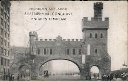 Michigan Ave. Arch 31st Triennial Conclave Knights Templar Postcard