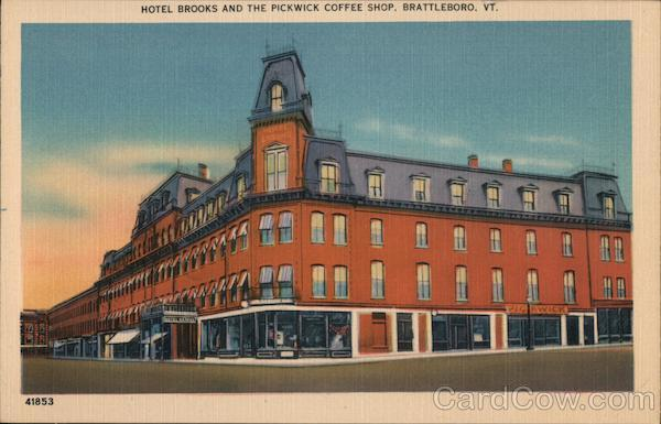 Hotel Brooks and the Pickwick Coffee Shop Brattleboro Vermont
