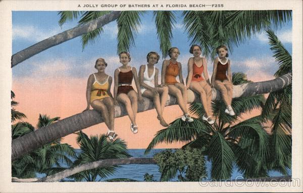 A jolly group of bathers at a Florida beach