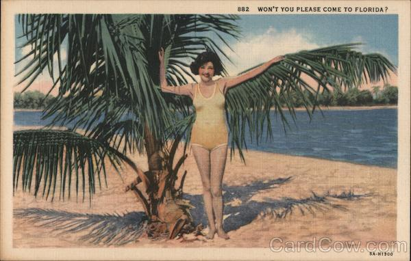 Won't You Please Come to Florida? - Woman in Yellow Swimsuit