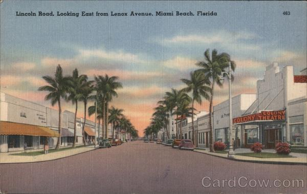 Lincoln Road, looking East from Lenox Avenue, Miami Beach, Florida