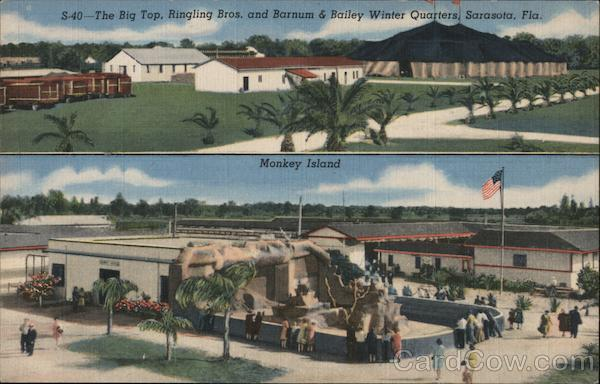 The Big Top, Ringling Bros. and Barnum & Bailey Winter Quarters, Sarasota, Fla. Monkey Island Florida