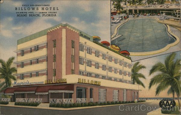 Billows Hotel. Miami Beach, Florida. Fully air-conditioned. Swimming pool. Cabana colony.