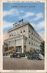 Royal Palm Hotel, West Palm Beach, Florida. All rooms are outside and with bath. Postcard