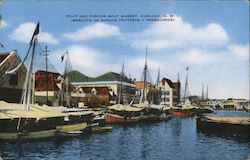 Fruit and Fishing Boat Market Postcard