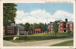 Woodstock High School, Woodstock, Vt. Postcard