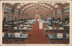 Interior, Main Mess Hall, Chanute Field Postcard