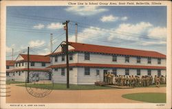 Chow Line in School Group Area, Scott Field Postcard