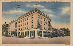 LaFayette Hotel, Corner Church and Mulberry, Rockford, Illinois Postcard