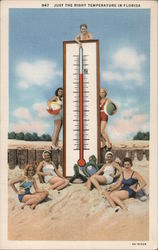 Just the Right Temperature in Florida - Women with Giant Thermometer Postcard