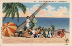 A happy group of bathers on a Florida beach Postcard