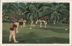 Coconut Bowling on the Green in Beautiful Florida Postcard