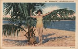 Won't You Please Come to Florida? - Woman in Yellow Swimsuit Postcard
