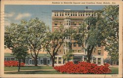 Azaleas in Bienville Square and Cawthon Hotel, Mobile, Ala.