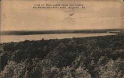 View of Twin Lakes from the tower. Sagamore-on-Twin-Lakes, Milford, Pa. Postcard
