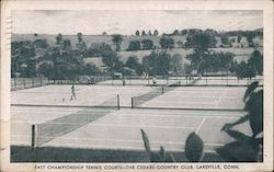 Fast Championship Tennis Courts. The Cedars Country Club, Lakeville, Conn. Postcard