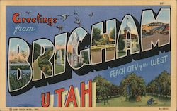 Greetings from Brigham Utah. Peach City of the West. Postcard