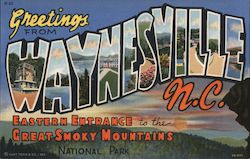 Greetings from Waynesville N.C. Eastern entrance to the Great Smoky Mountains National Park Postcard