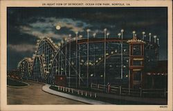 Night view of Skyrocket. Ocean View Park. Norfolk, VA. Postcard
