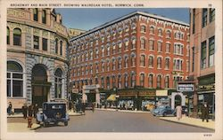 Broadway and Main Street, Showing Wauregan Hotel Postcard
