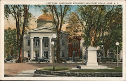 East Park, Gansevoort Monument and Court House Postcard