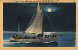 Boat by Moonlight - Greetings from Great Neck