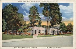 Tallahassee Auto Court In the Capitol City of Florida Rock Brick and Stucco Cottages 42 with Private Bath Postcard