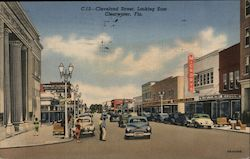 Cleveland Street, looking East. Clearwater, Fla. Postcard
