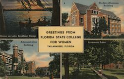 Greetings from Florida State College for Women. Tallahassee, Florida Postcard