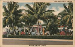 Colonial Manor. Dixie and Hibiscus Streets. West Palm Beach, Florida Postcard
