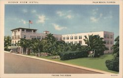Ocean View Hotel. Palm Beach, Florida. Facing the ocean