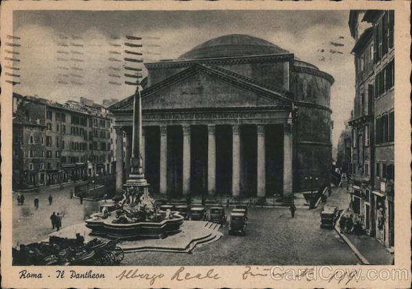 Rome Italy, Pantheon, to Germany w Swastika Cancel