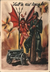 Italian soldier and the devil. Postcard