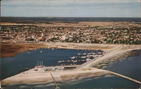 Aerial View of Gulfport, Yacht Club and Fishing Fleet Mississippi