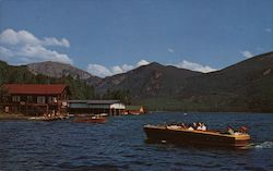 Boating on Grand Lake at Western Entrance to Park Postcard