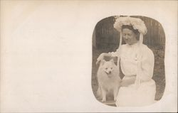 White Dressed Woman and White Dog
