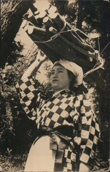 Woman Carrying Wood on Head Postcard