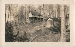2 story home on a hill in the woods with a shed and trees Postcard