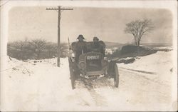 Old Car on Snow Filled Road Berkshire Automobile
