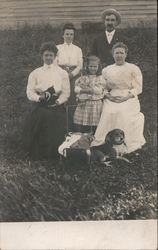 Family Picture Including Pets Postcard