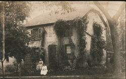 English Style Stone House with Gambrel Roof and Ivy Rockford, IL Postcard