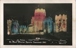 Ice Palace - Night Scene, St. Paul Winter Sports Carnival - 1941 Postcard